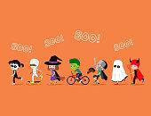 Halloween kids. Cute cartoon children in costumes