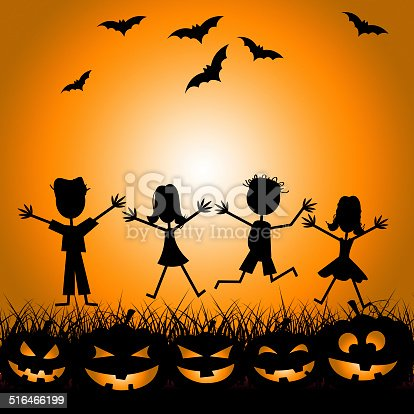 Kids Bats Showing Trick Or Treat And Happy Halloween