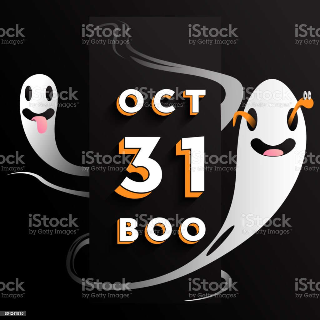 Halloween Oct 31 BOO sign with ghosts around. Vector illustration. royalty-free halloween oct 31 boo sign with ghosts around vector illustration stock vector art & more images of autumn
