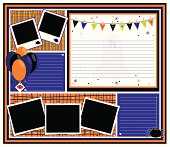 """""""Halloween Party Page with balloons, empty frames, confetti, ghost, spider and bunting. Perfect for your holiday celebration."""""""