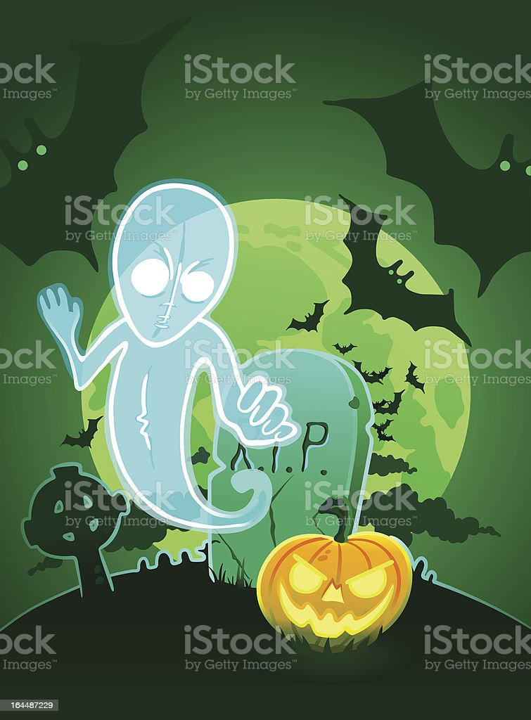 Halloween poster with ghost near grave. royalty-free stock vector art
