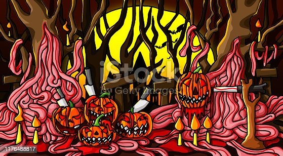 istock Halloween Pumpkin bats with the moon and the dark forest background paint 1176488817