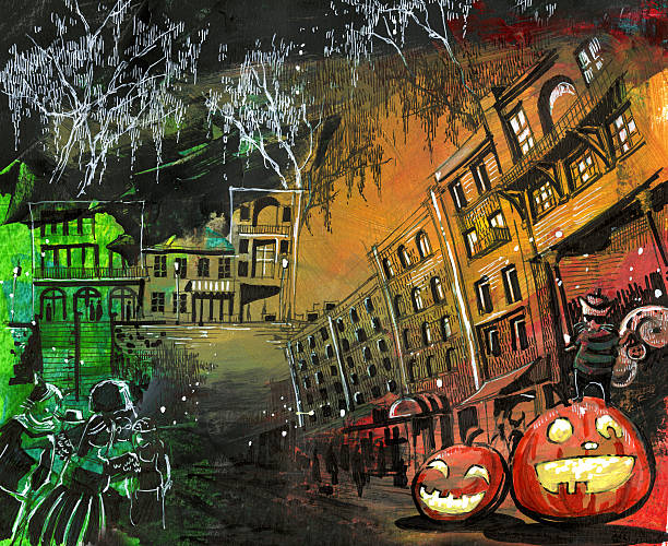 Halloween pumpkin old town painting Halloween pumpkin old town painting spooky halloween town stock illustrations