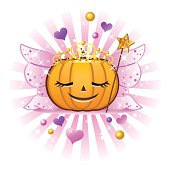 Halloween pumpkin wearing fairy princess costume