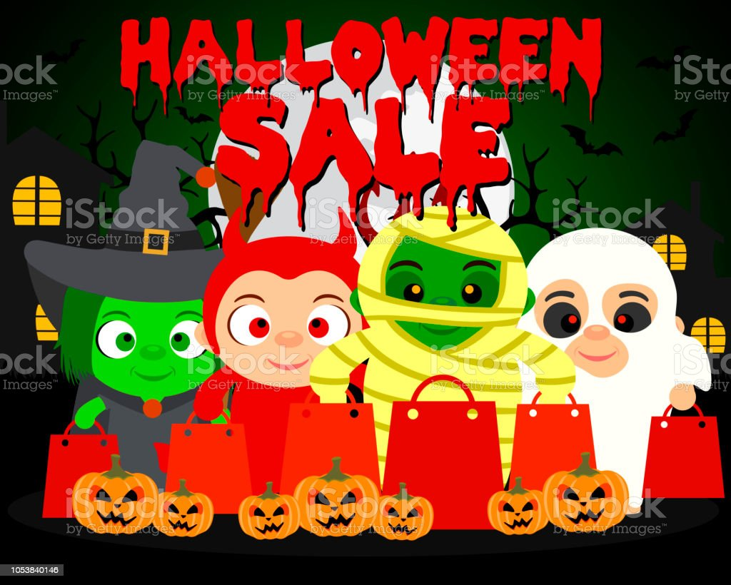 halloween sale background with kids in funny halloween costume stock