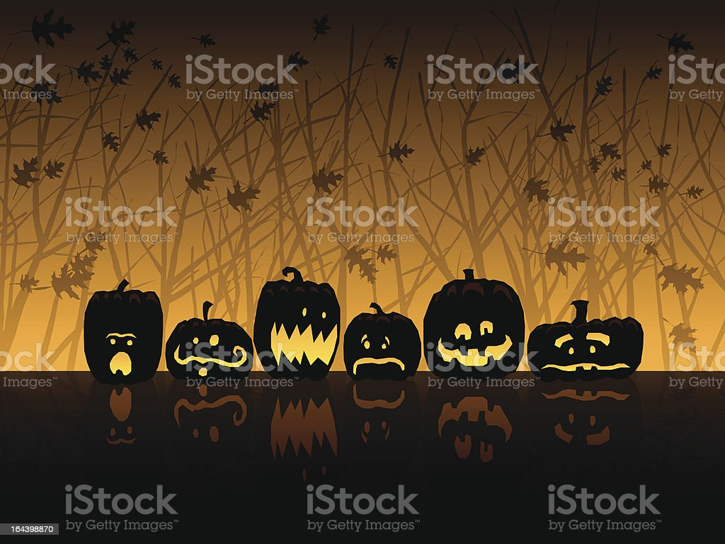 Halloween scene with jack-o-lanterns royalty-free stock vector art