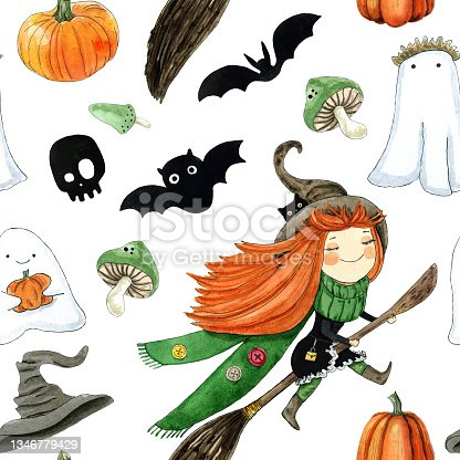 istock Halloween seamless pattern for festive gift wrapping paper or fabric design. Cartoon watercolor illustration on white 1346779429