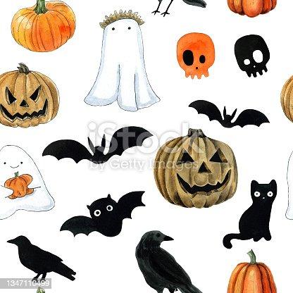 istock Halloween seamless pattern for gift wrapping paper, wallpaper design. Cartoon cute cat, pumpkins, bats, ghosts, skulls 1347110499