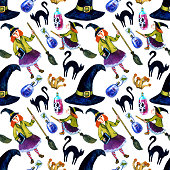 istock Halloween seamless pattern with witch, black cat, magic hat and magic potion. Watercolor illustration on white background. 1277151228