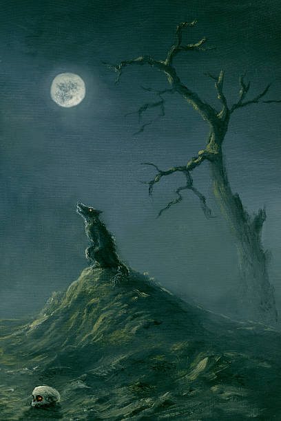 A Halloween themed picture of a wolf at night time Werewolf and Full Moon silhouette of a howling coyote stock illustrations