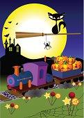 """An Illustration of halloween,train carrying pumpkin,black cat sitting bloom flying."""