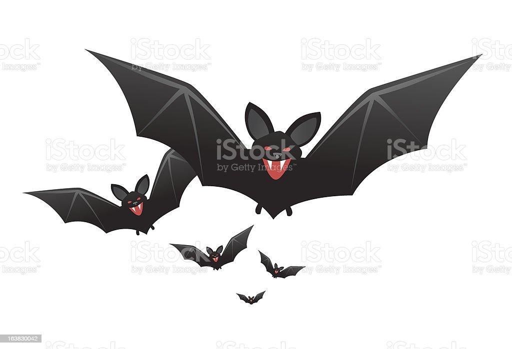 Halloween vampire bats with fangs vector art illustration