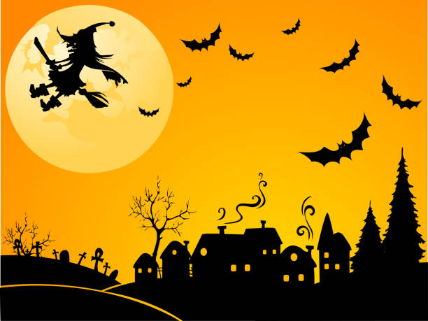 Halloween witch Happy witch flying in the sky of the village spooky halloween town stock illustrations