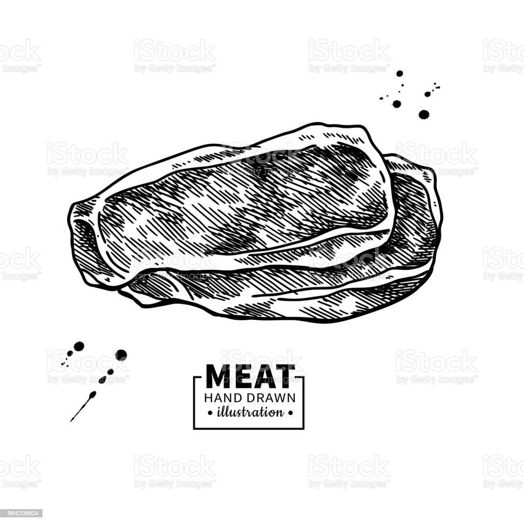 Dibujo vectorial del corte del jamón. Ilustración de carne cerdo o hamon dibujado a mano. - ilustración de arte vectorial
