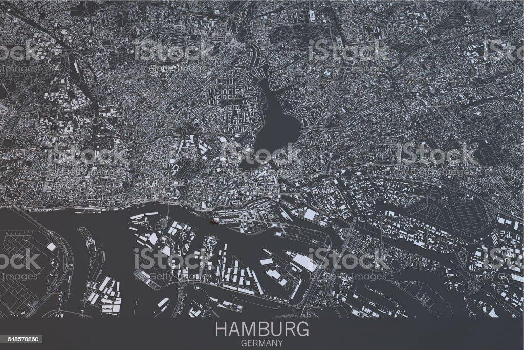 Hamburg map, satellite view, city, Germany. 3d rendering vector art illustration
