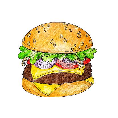 hamburger hand drawn illustration sketch retro style, burger