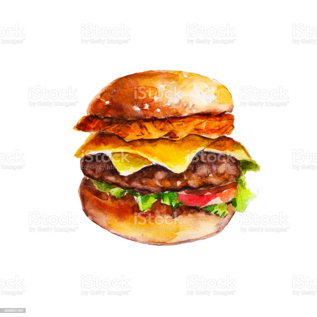 Hamburger with hash brown and vegetables, watercolor illustration isolated on white background. vector art illustration