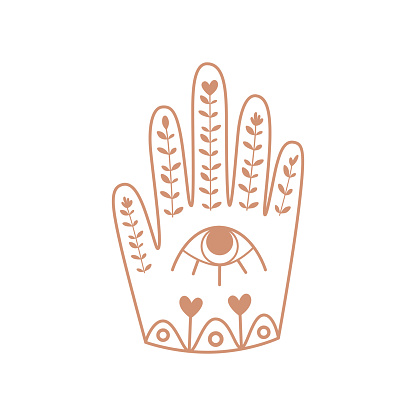 Hamsa Hand with eye. Boho hand, floral ornrate ethnic elements, good fortune. Bohemian sticker