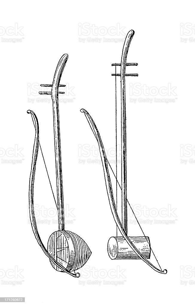 Han Chinese Two-Stringed Fiddle | Antique Musical Illustrations royalty-free han chinese twostringed fiddle antique musical illustrations stock vector art & more images of ancient