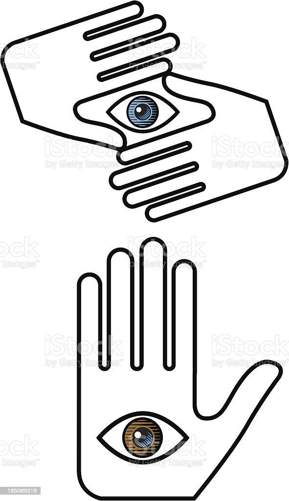 Hand and eye royalty-free stock vector art