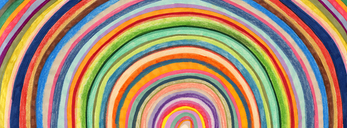 Hand coloured circular stripes background patter