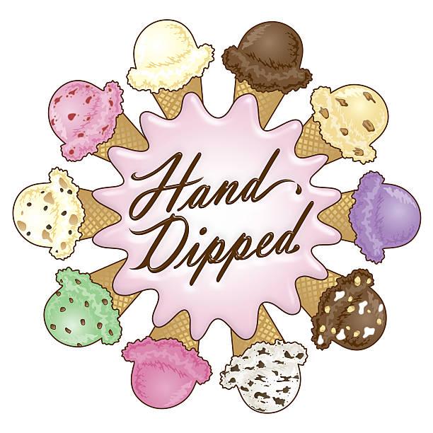 Hand Dipped Ice Cream Design vector art illustration