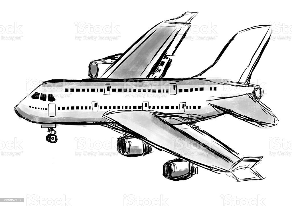 Hand Draw Airplane Stock Illustration Download Image Now Istock