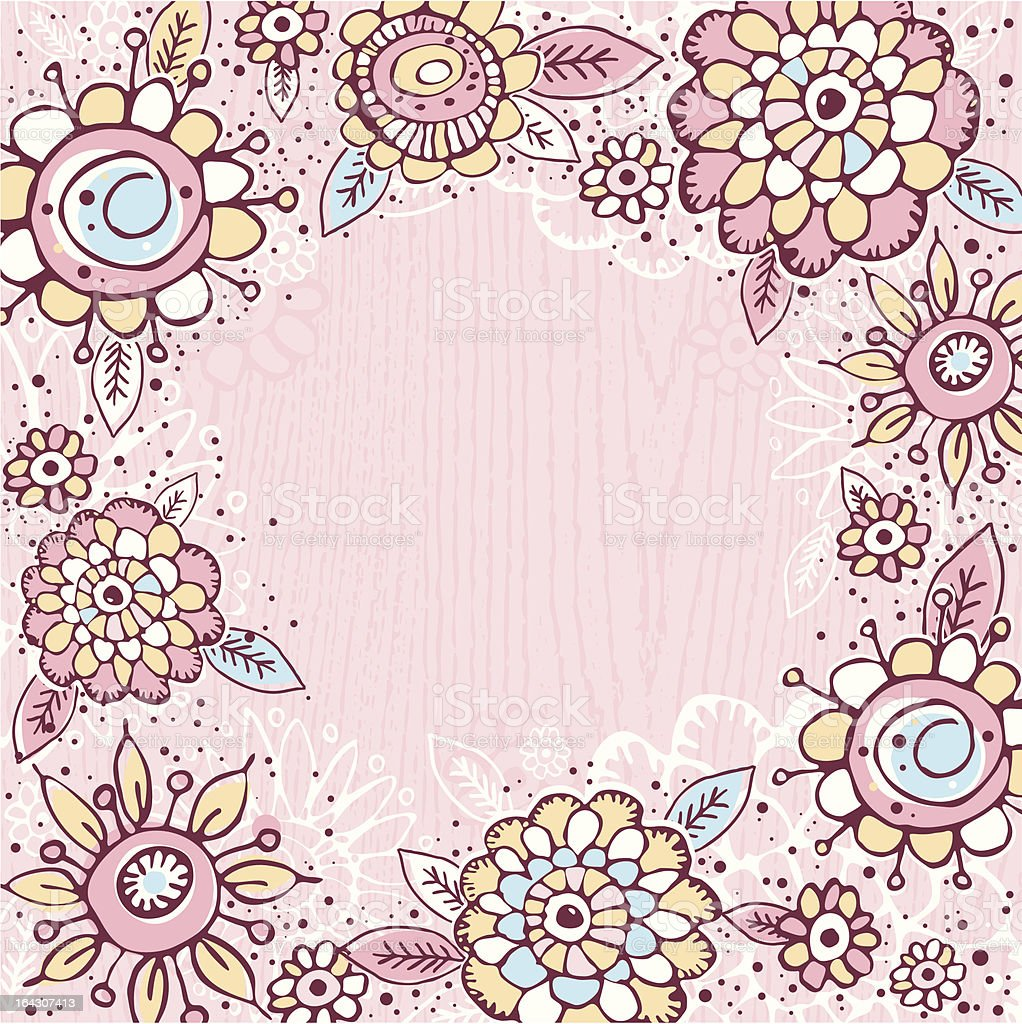 hand draw  flowers on pink  background royalty-free stock vector art