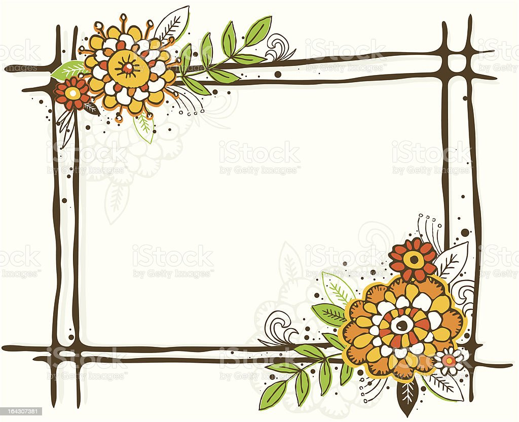 Hand Draw Frame With Flowers Stock Vector Art More Images Of
