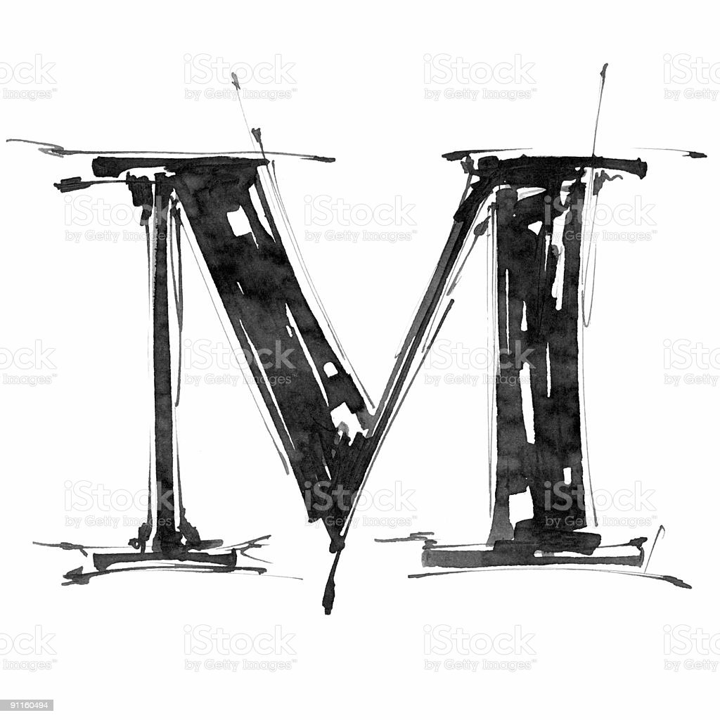 Hand draw letter M royalty-free stock vector art
