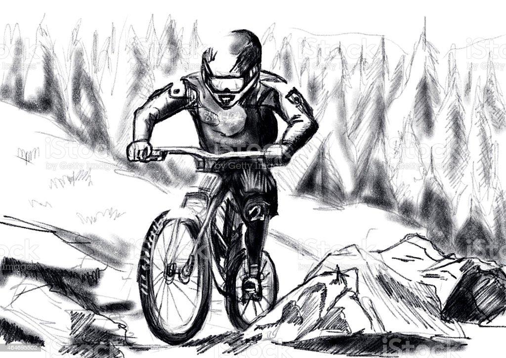 Ilustración De Mano Dibujar Mtb Descenso Y Más Vectores