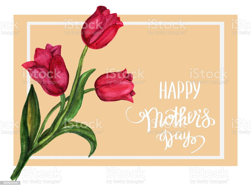Hand drawing card flower vector art illustration