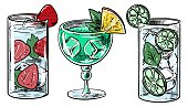 istock Hand drawing colorful illustration set of cocktails. Collection of drinks. Retro style. For menu, poster, card, print 1309684195