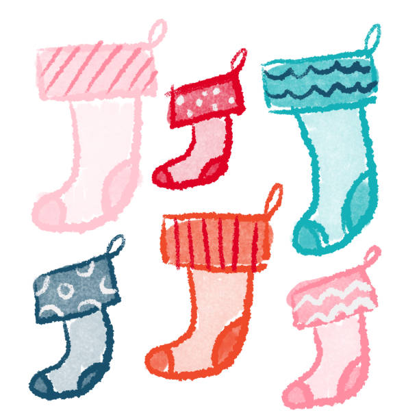 Hand drawing holiday stockings Had drawn holiday stockings kathrynsk stock illustrations
