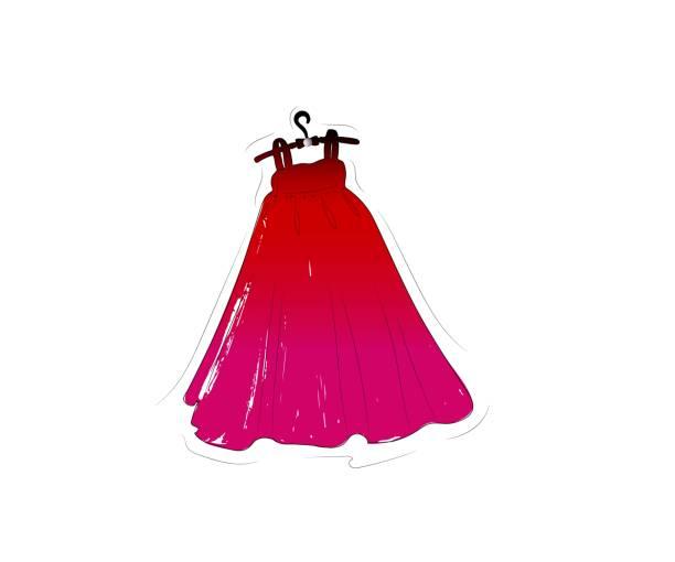 illustrazioni stock, clip art, cartoni animati e icone di tendenza di hand drawing illustration of red dress on black hanger. vector - alta moda italy