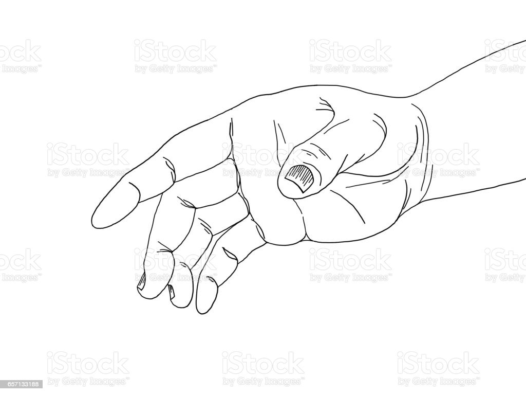 Drawing Line Graphs By Hand : Hand drawing line graph touching stock vector art