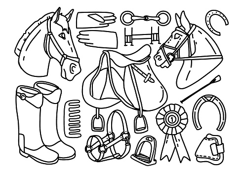 Hand drawing lineart doodle equestrian collection. Use for poster, print, card, postcard, design, pattern, shop, market, store, advertising, textile, fabric, coloring books