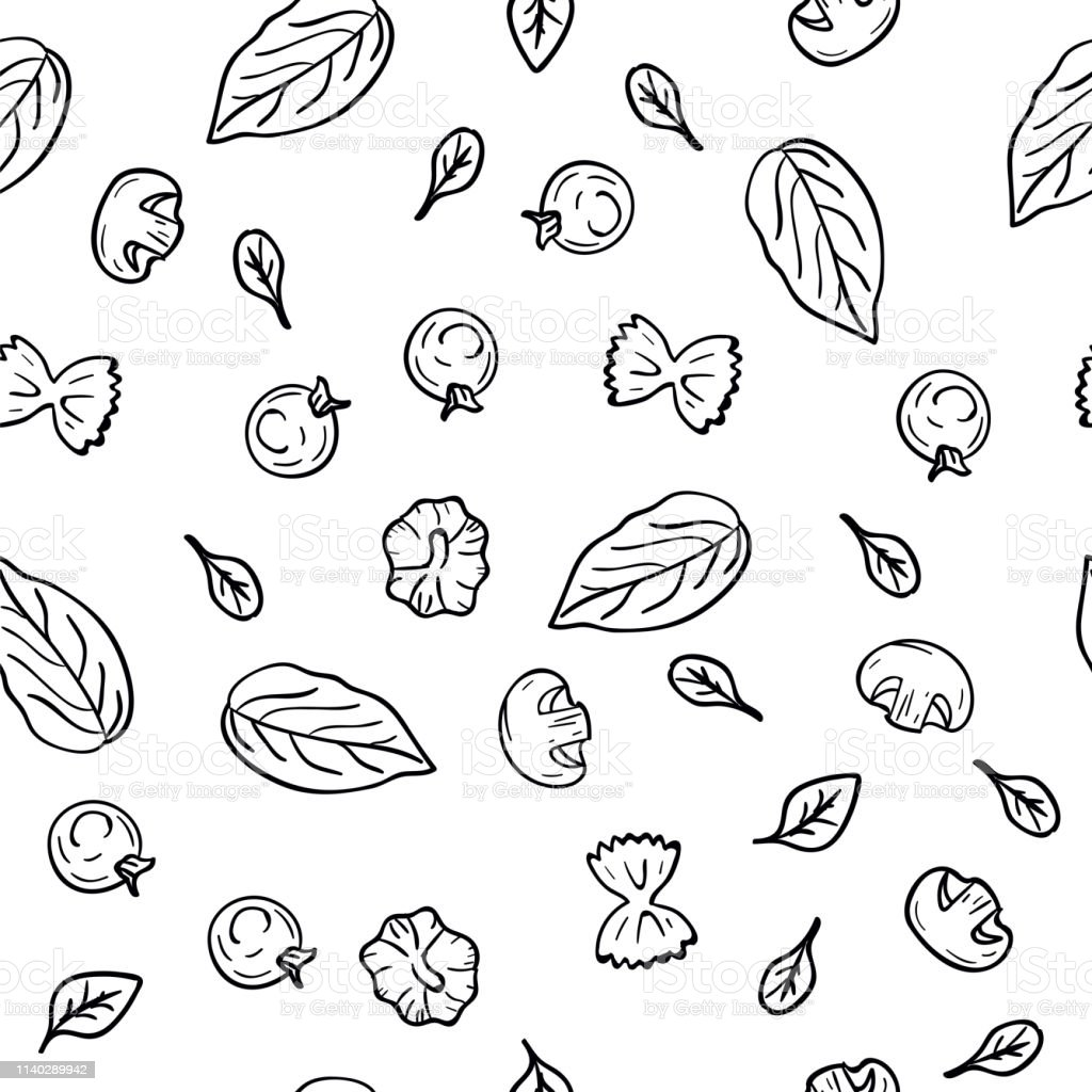 Hand Drawing Pattern Herbs Garlic Champignons Tomato Cherry Pasta In Doodle Style On White Background Doodle Drawing Vegetable And Food Ingredients Kitchen Textile Diet And Nutrition Concept Stock Illustration Download Image
