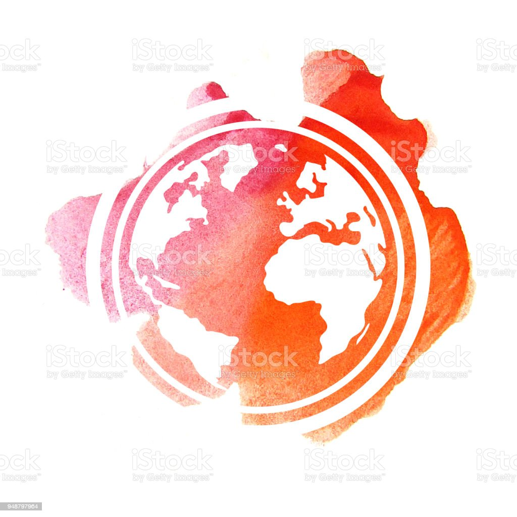 Hand drawing planet Earth watercolor vector art illustration