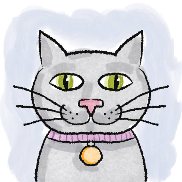 Hand drawing smiling cat Hand drawn smiling cat kathrynsk stock illustrations