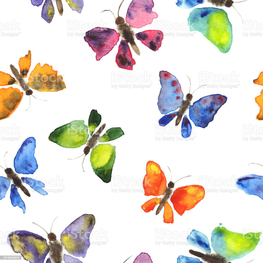 Hand Drawing Watercolor Seamless Pattern Of Butterflies On