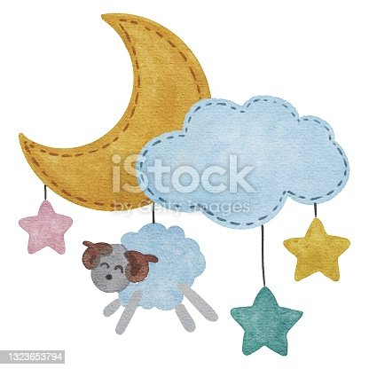 istock Hand drawing watercolor set of children's room decoration isolated on white: cloud with lamb, moon and stars. Baby shower. Use for card, postcard, poster, print, textile, decoration, scrapbooking 1323653794