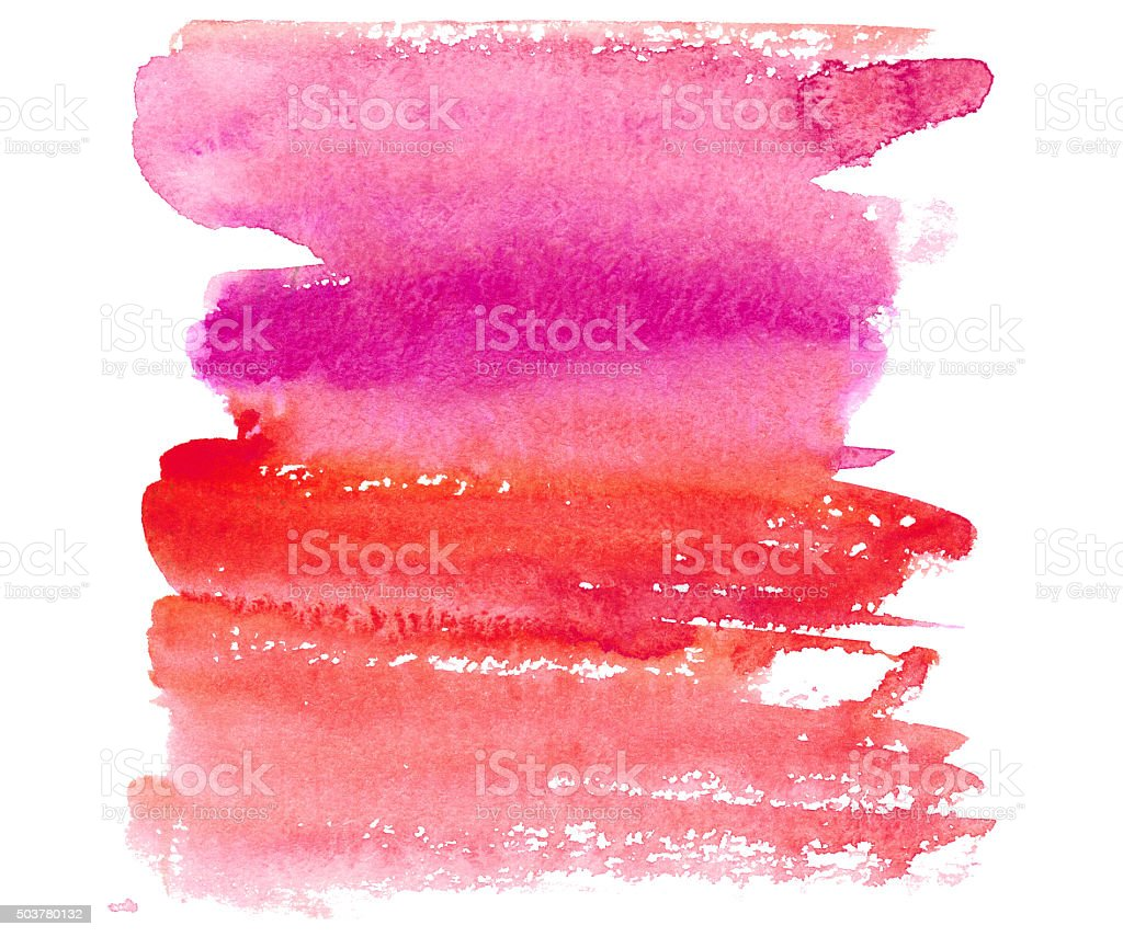 Hand drawm watercolor wash in red, pink, fuchsia colors vector art illustration