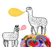 Creative illustration of alpacas