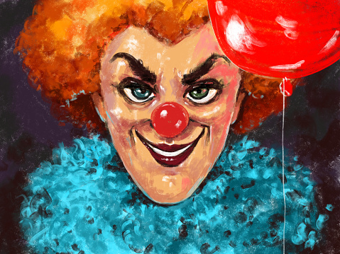 hand drawn art portrait of an evil scary smiling clown with red nose, red wig and red balloon in hand