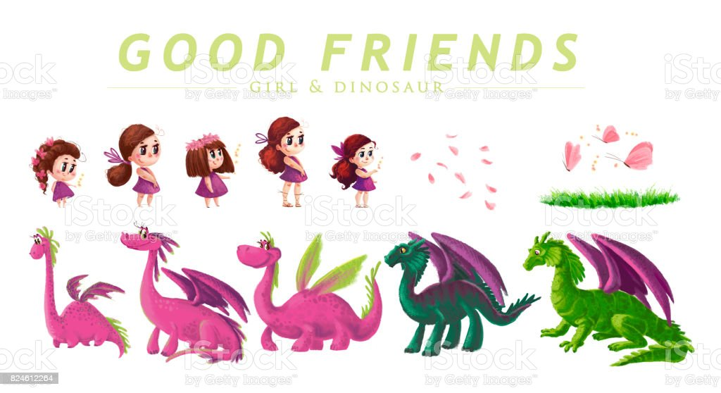 Hand drawn artistic collection of cute little girl and friendly dinosaur with nature elements isolated on white background. Cartoon style. Children illustration. vector art illustration