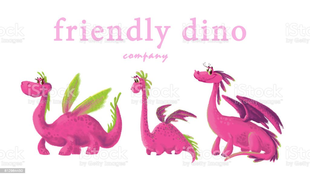Hand drawn artistic funny dinosaur portrait collection isolated on white background. Friendly animal character design set. Children book illustration. vector art illustration