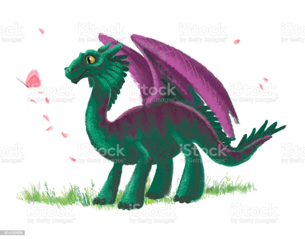 Hand drawn artistic funny dinosaur with butterfly portrait with nature elements isolated on white background. Friendly animal character design. Children book illustration. vector art illustration