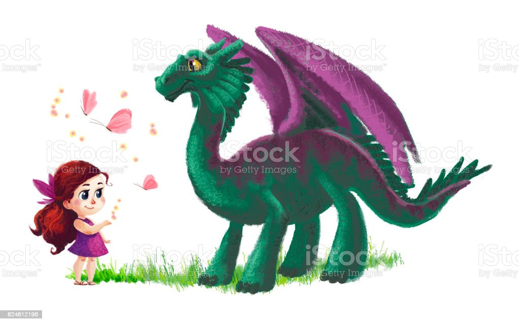 Hand drawn artistic illustration of cute little girl and friendly dinosaur with butterfly and grass isolated on white background. Cartoon style. Children illustration. vector art illustration