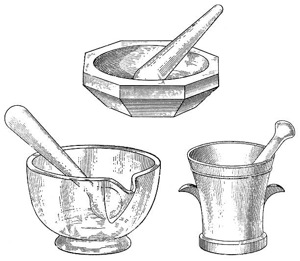 Hand drawn black and white mortar and pestle sets vector art illustration